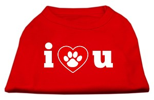 I Love U Screen Print Shirt Red XS (8)
