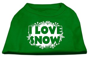 I Love Snow Screenprint Shirts Emerald Green Lg (14)