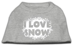 I Love Snow Screenprint Shirts Grey M (12)