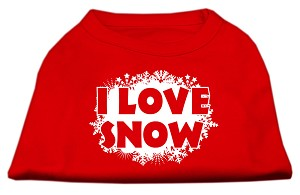 I Love Snow Screenprint Shirts Red XXXL (20)
