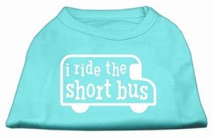 I ride the short bus Screen Print Shirt Aqua XL (16)