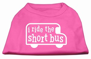 I ride the short bus Screen Print Shirt Bright Pink XS (8)