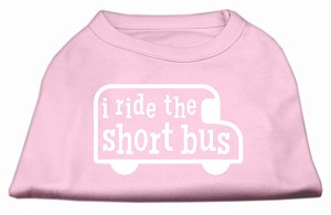 I ride the short bus Screen Print Shirt Light Pink XS (8)