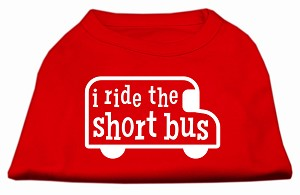 I ride the short bus Screen Print Shirt Red XS (8)