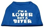 I'm a Lover not a Biter Screen Printed Dog Shirt Blue XS (8)