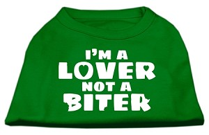 I'm a Lover not a Biter Screen Printed Dog Shirt Emerald Green Med (12)