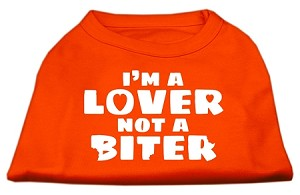 I'm a Lover not a Biter Screen Printed Dog Shirt Orange XXXL (20)