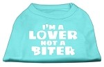 I'm a Lover not a Biter Screen Printed Dog Shirt  Aqua XS (8)