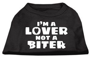 I'm a Lover not a Biter Screen Printed Dog Shirt  Black XL (16)