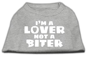 I'm a Lover not a Biter Screen Printed Dog Shirt  Grey XXL (18)