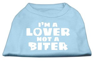 I'm a Lover not a Biter Screen Printed Dog Shirt  Baby Blue Lg (14)