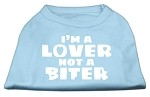 I'm a Lover not a Biter Screen Printed Dog Shirt  Baby Blue XS (8)