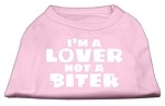 I'm a Lover not a Biter Screen Printed Dog Shirt  Light Pink XS (8)