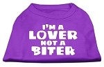 I'm a Lover not a Biter Screen Printed Dog Shirt  Purple XS (8)