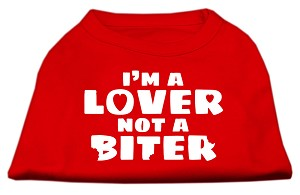 I'm a Lover not a Biter Screen Printed Dog Shirt  Red Med (12)