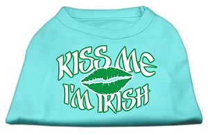 Kiss Me I'm Irish Screen Print Shirt Aqua XS (8)