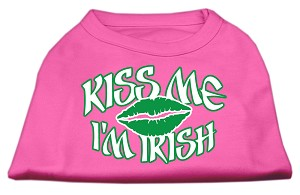 Kiss Me I'm Irish Screen Print Shirt Bright Pink Med (12)