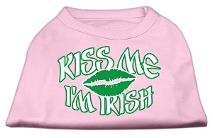 Kiss Me I'm Irish Screen Print Shirt Light Pink XXL (18)