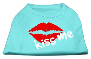 Kiss Me Screen Print Shirt Aqua XXXL (20)