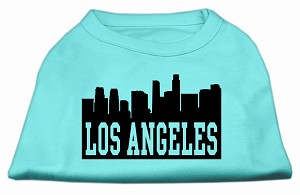 Los Angeles Skyline Screen Print Shirt Aqua XL (16)
