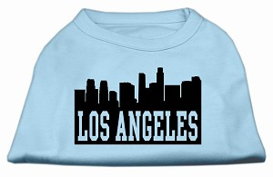 Los Angeles Skyline Screen Print Shirt Baby Blue XS (8)