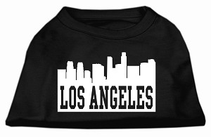 Los Angeles Skyline Screen Print Shirt Black Lg (14)