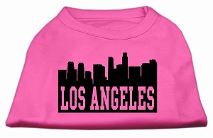 Los Angeles Skyline Screen Print Shirt Bright Pink XXL (18)