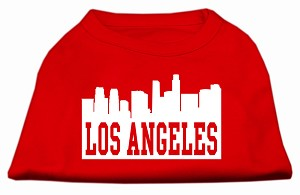 Los Angeles Skyline Screen Print Shirt Red XS (8)