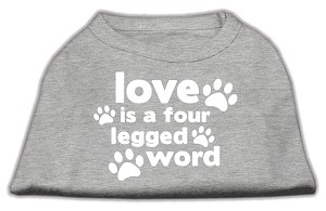 Love is a Four Leg Word Screen Print Shirt Grey XL (16)
