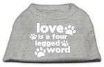 Love is a Four Leg Word Screen Print Shirt Grey Med (12)