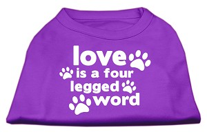 Love is a Four Leg Word Screen Print Shirt Purple XS (8)