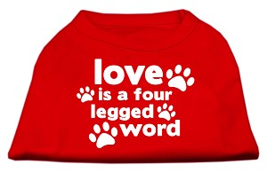 Love is a Four Leg Word Screen Print Shirt Red XL (16)
