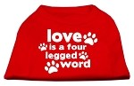 Love is a Four Leg Word Screen Print Shirt Red XS (8)