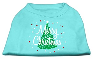 Scribbled Merry Christmas Screenprint Shirts Aqua L (14)