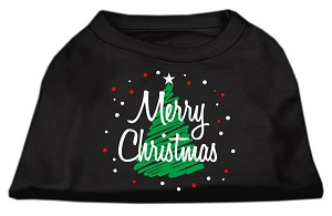 Scribbled Merry Christmas Screenprint Shirts Black XL (16)