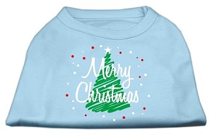 Scribbled Merry Christmas Screenprint Shirts Baby Blue XXL (18)