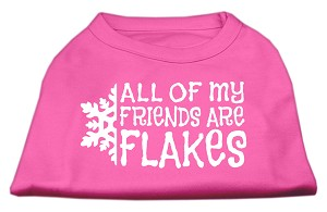 All my friends are Flakes Screen Print Shirt Bright Pink L (14)