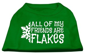 All my Friends are Flakes Screen Print Shirt Emerald Green Sm (10)