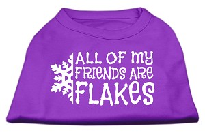 All my friends are Flakes Screen Print Shirt Purple XS (8)