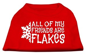 All my friends are Flakes Screen Print Shirt Red XXL (18)