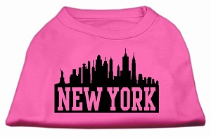 New York Skyline Screen Print Shirt Bright Pink XXL (18)