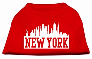 New York Skyline Screen Print Shirt Red XXL (18)