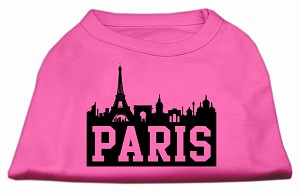 Paris Skyline Screen Print Shirt Bright Pink Sm (10)