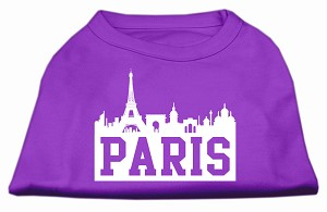 Paris Skyline Screen Print Shirt Purple XL (16)