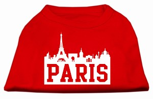 Paris Skyline Screen Print Shirt Red XL (16)