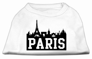 Paris Skyline Screen Print Shirt White XS (8)