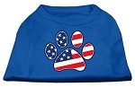 Patriotic Paw Screen Print Shirts Blue Med (12)