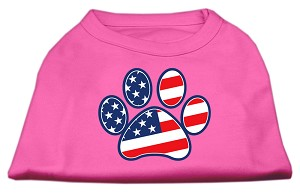 Patriotic Paw Screen Print Shirts Bright Pink XXXL(20)