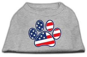 Patriotic Paw Screen Print Shirts Grey S (10)