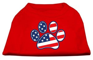 Patriotic Paw Screen Print Shirts Red XS (8)